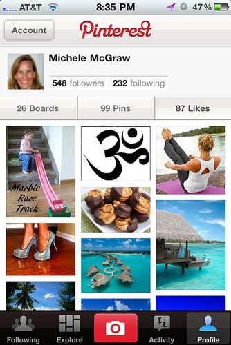 Pinterest Sharing interests