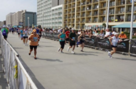 About to cross the finish llne.