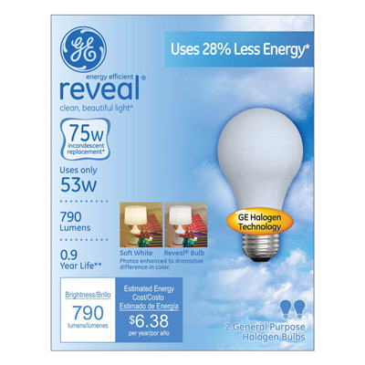 GE reveal light bulbs