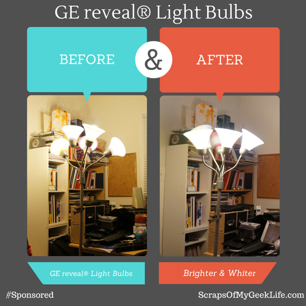 GE reveal light bulbs before and after