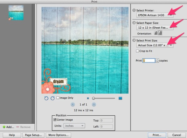 printing 12x12 digital scrapbook pages with photoshop elements