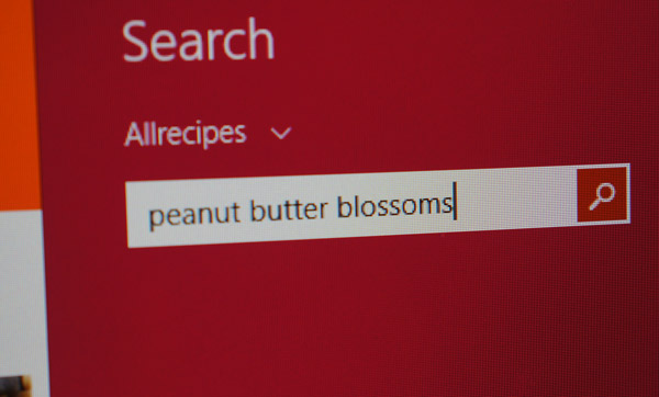 searching holiday cookie recipes in windows 8.1 apps