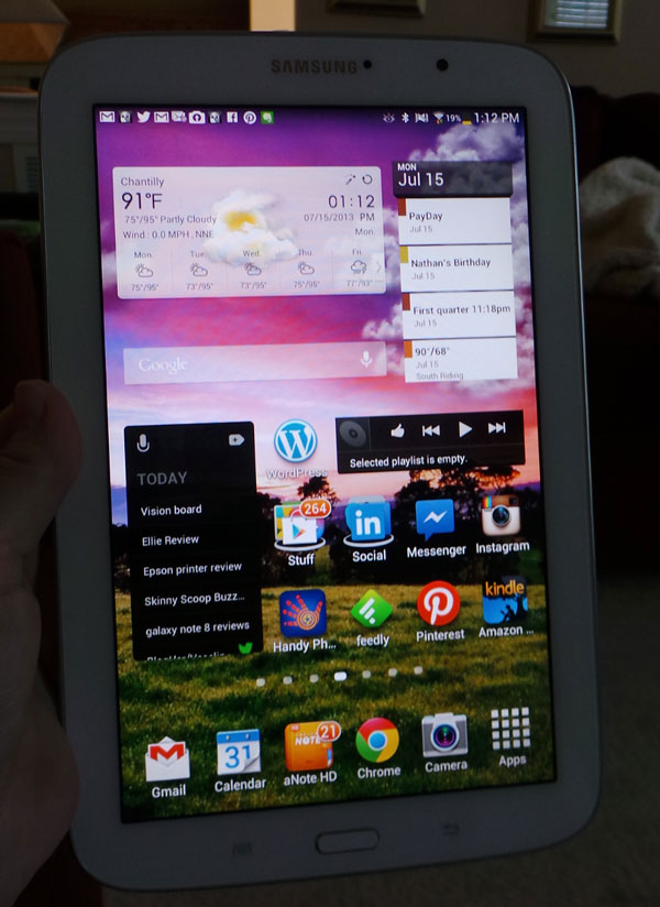 bright screen on galaxy note 8 tablet