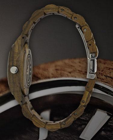 side of Fieldcrest wood watch