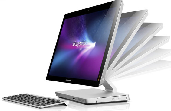 Lenovo IdeaCentre A520 with flexible viewing monitor; All-in-One touchscreen desktop with Windows 8