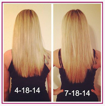 Before and After with Hairfinity vitamins