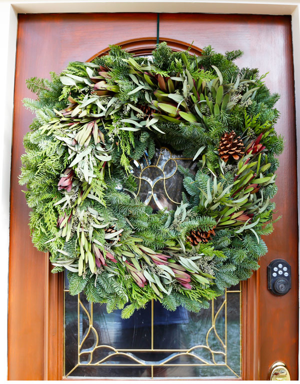 Live wreath for holiday decorating