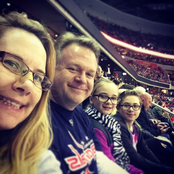 My family at a Washington Capitals game.