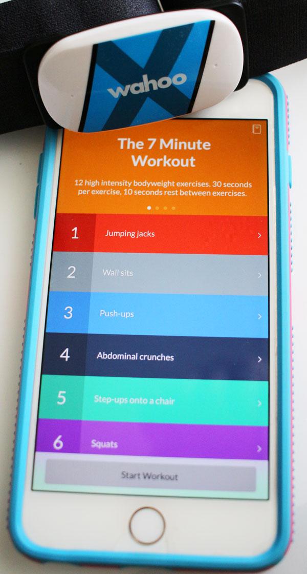 7 Minute Workout app on iPhone; Wahoo Tickr X #WahooTICKRX #Wahoo7minApp #Wahooligan