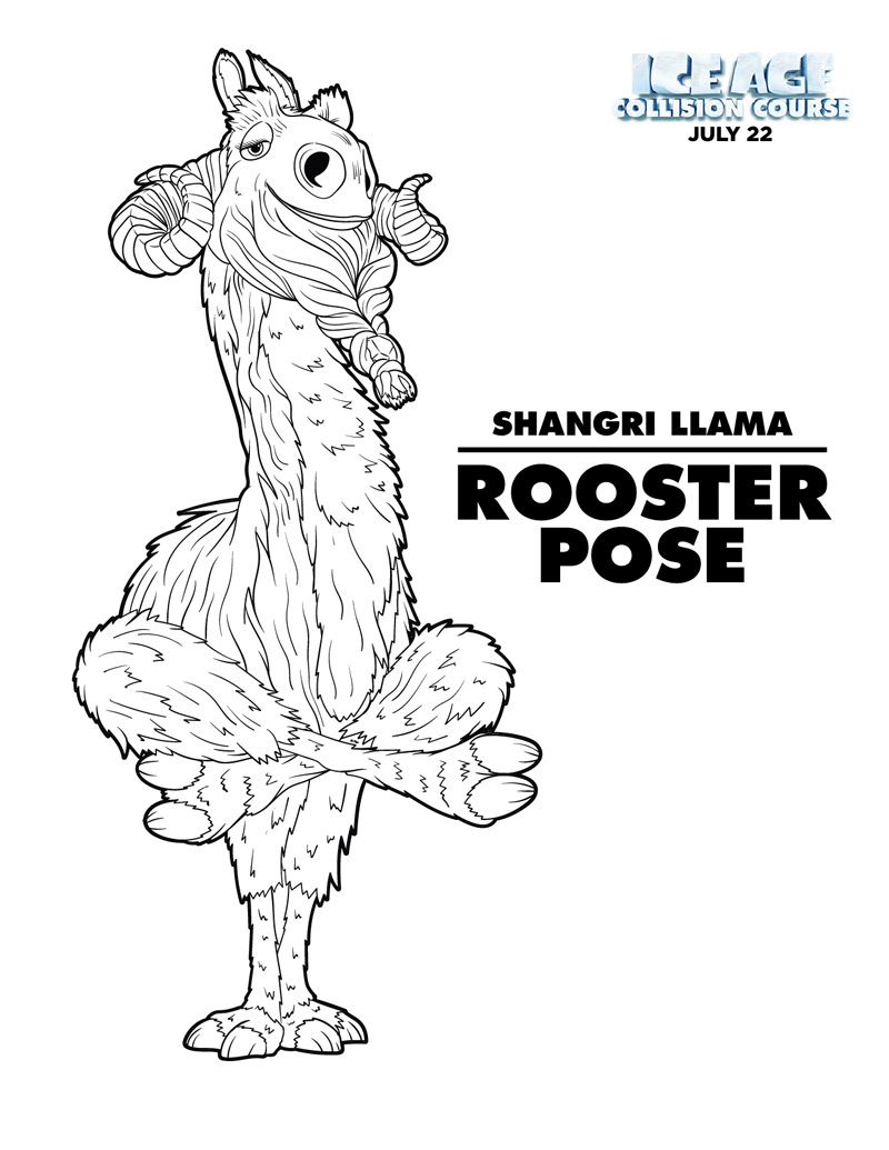 Download the Rooster Pose Ice Age yoga coloring page