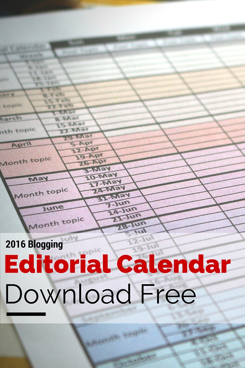 Download my free 2016 editorial calendar. Great for blogging or social media strategy. The free download includes a year on one page calendar color coded for each month. If you sign up for my newsletter, you will receive 2 more versions of the 2016 editorial calendar (one page/month and one with keywords) along with the 2017 year on one page editorial calendar. Enjoy!