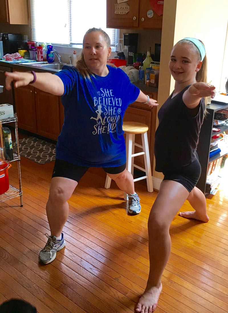 Megan and I doing the warrior pose.