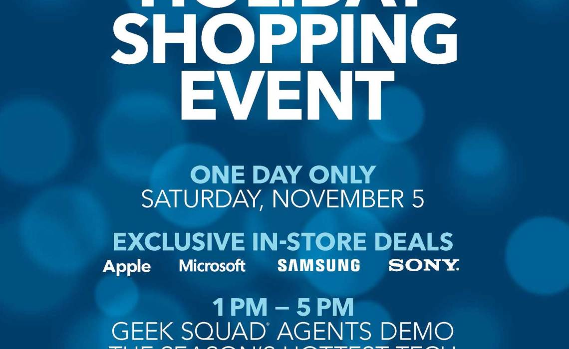 Best Buy is having a special holiday shopping event on Saturday, November 5th from 1:00 pm to 5:00 pm. #GiftingMadeEasy @BestBuy