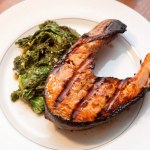 Maple Soy Salmon and Mustard Greens