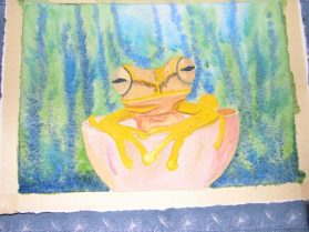Worked on my frog today. But when I start workiing on the Garden I don't feel like staying inside and painting.