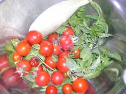 Cherry Tomatoes, basil, and cucumber