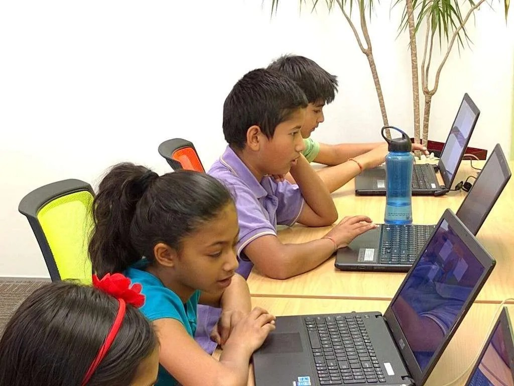 Children busy coding