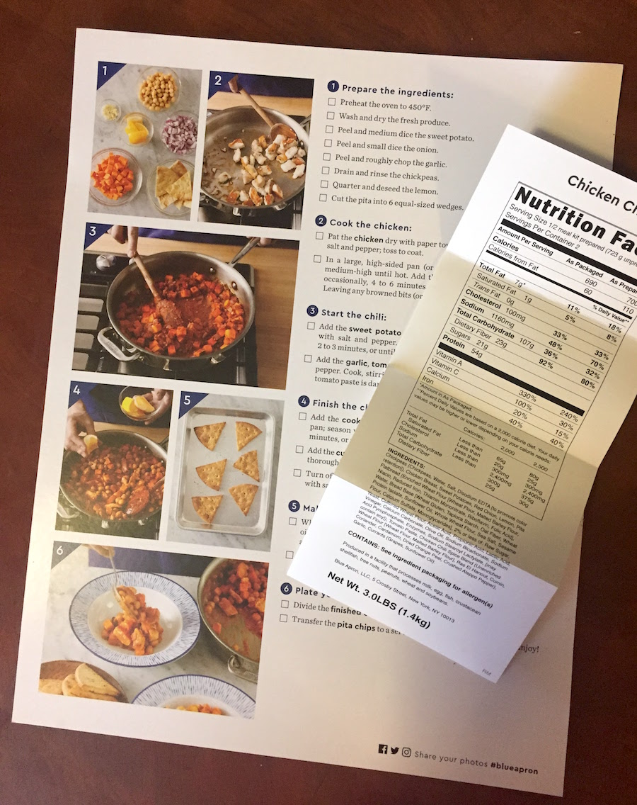 back of blue apron recipe sheet for chicken chili