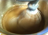 add half the dry & half the milk to the batter and mix