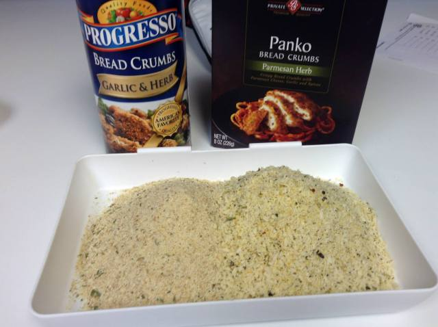 You can use any bread crumbs... this is what I had in the cupboard... I used same amounts of both kinds and mixed them together