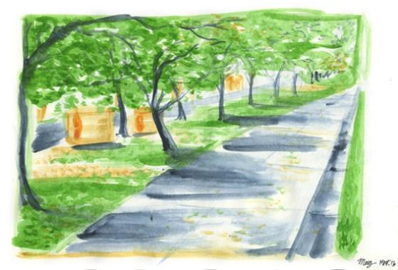 Bus Stop, Edmund Barton Building - watercolours