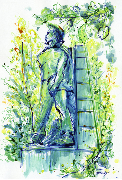 Australian War Memorial sculpture garden - inktense pencils, watercolours and inks