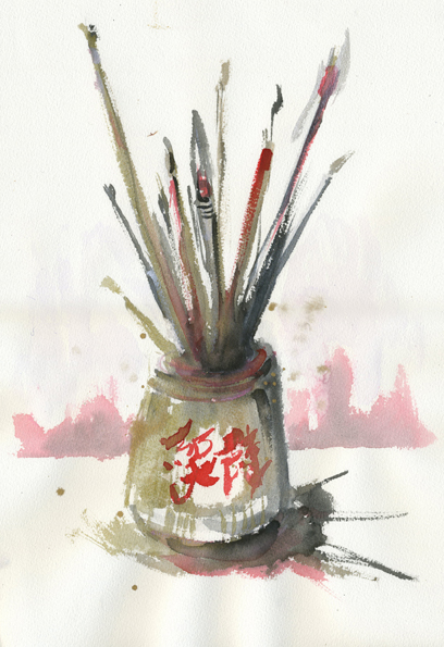 Japanese sumi watercolours and brushes