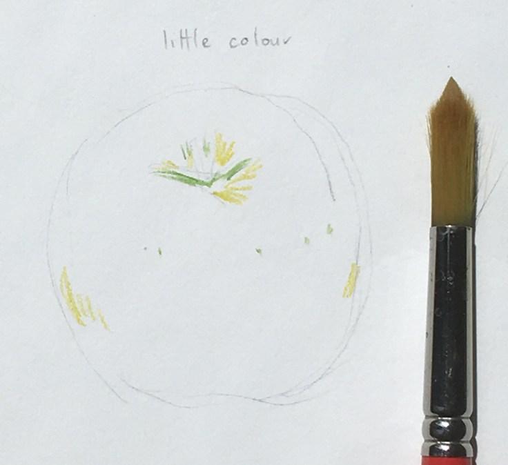 Inktense_apple_little_colour_dry_with_brush