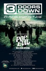 Pop Evil 3 Doors Down poster 2016