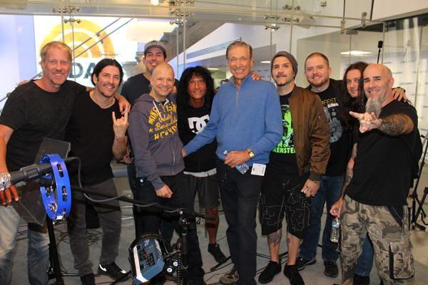 L-R: SiriusXM's Opie, Frank Bello (Anthrax), SiriusXM's Jim Norton, Joey Belladonna (Anthrax), Maury Povich, Charlie Benante (Anthrax), Jamey Jasta (Hatebreed), Anthrax's Jon Donais and Scott Ian