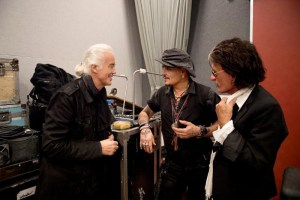 Photo Credit:  Ross Halfin/TeamRock.com Left to Right:  Jimmy Page, Johnny Depp, Joe Perry