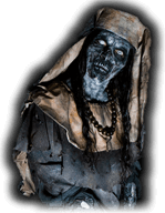 An evil nun with white eyes stares at Sacramento haunted house patrons.