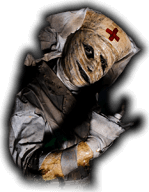 A nurse with a crooked face beckons at haunted house Sacramento goers.