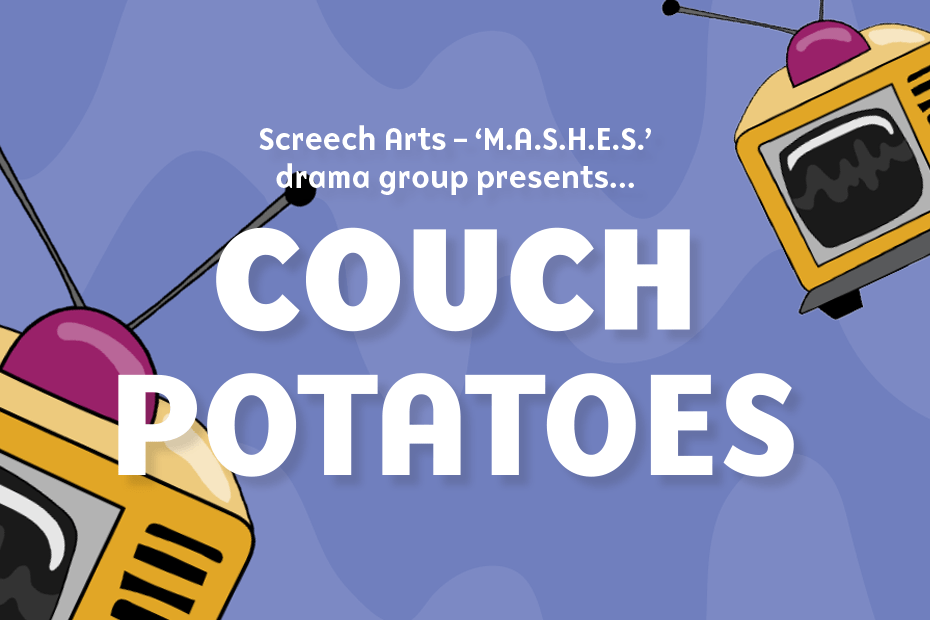 A purple background with tv icons and the text: Couch Potatoes on large font