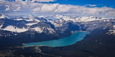 Hector Lake and peaks of the Wapta Icefield area seen from the summit of Little Hector. Mount Balfour is the tall peak at centre.