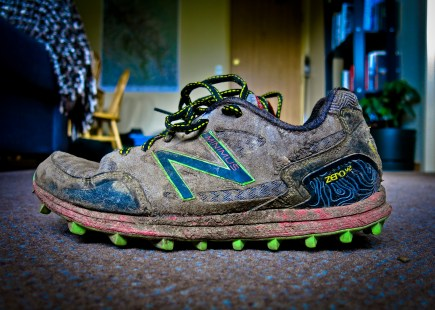 My trusty New Balance MT00V2's, caked with mud after a weekend of dusty service roads, swamps, miniature creek crossings and churning through heaps of scree and loose shale. Onto the the next adventure! say these little size-7 runners.