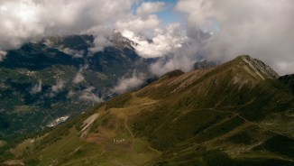 Looking down to the village of Vallorcine from near the Tête de Balme (2321m).