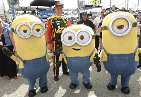 HOMESTEAD, FL - NOVEMBER 22: Clint Boyer with the Minions at NASCAR Ford Championship Weekend in celebration of the Minions on digital HD on November 24 and Blu-ray & DVD on December 8, on November 22, 2015 in Homestead, United States. (Photo by Gustavo Caballero/Getty Images For Universal Pictures Home Entertainment)