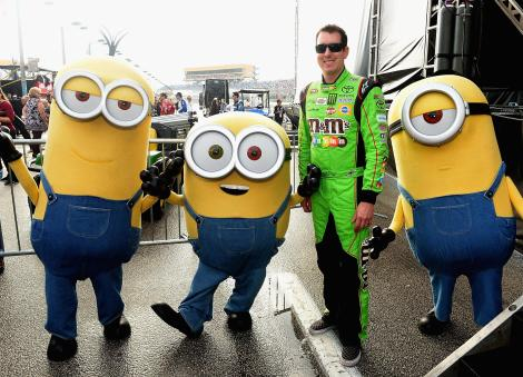 HOMESTEAD, FL - NOVEMBER 22: Kyle Busch with the Minions at NASCAR Ford Championship Weekend in celebration of Minions on digital HD on November 24 and Blu-ray & DVD on December 8. (Photo by Gustavo Caballero/Getty Images For Universal Pictures Home Entertainment)