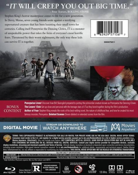 'IT'; Arrives On Digital December 19, 2017 & On 4K Ultra HD, Blu-ray & DVD January 9, 2018 From Warner Bros 5
