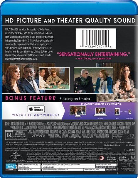'Molly's Game'; Arrives On Digital March 27 & On Blu-ray & DVD April 10, 2018 From Universal 5