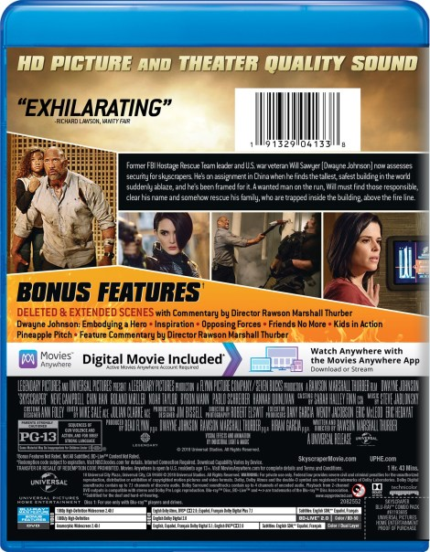 'Skyscraper'; Arrives On Digital September 25 & On 4K Ultra HD, 3D Blu-ray, Blu-ray & DVD October 9, 2018 From Universal 12