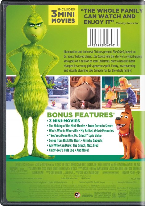 Illumination Presents Dr. Seuss' 'The Grinch'; Arrives On Digital January 22 & On 4K Ultra HD, 3D Blu-ray, Blu-ray & DVD February 5, 2019 From Illumination & Universal 12