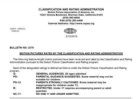 CARA/MPAA Film Ratings BULLETIN For 05/15/19; Official MPAA Ratings & Rating Reasons Announced For 'Child's Play', 'Just Mercy', 'Sergio' & More 2