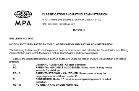 CARA/MPAA Film Ratings BULLETIN For 10/16/19; Official MPAA Ratings & Rating Reasons For 'Terminator: Dark Fate', 'The Grudge', '1917' & More 4