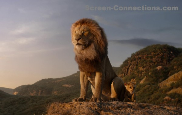 the lion king 2019 blu-ray image, lion and lion cub on rock