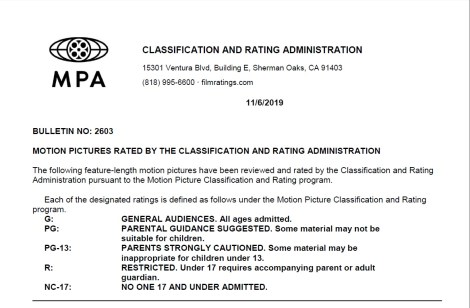 CARA/MPA Film Ratings BULLETIN For 11/06/19; Official MPA Ratings & Rating Reasons For 'Jumanji: The Next Level', '21 Bridges' & More 1