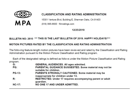 CARA/MPA Film Ratings BULLETIN For 12/25/19; Official MPA Ratings & Rating Reasons For '7500', 'Doctor Sleep: Director's Cut', 'The Assistant' & More 2
