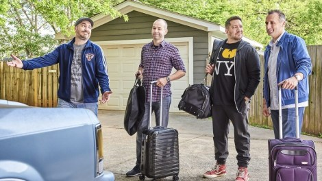 ratings, key image, impractical jokers, 4 people, suitcases