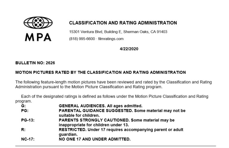 CARA/MPA Film Ratings BULLETIN For 04/22/20; MPA Ratings & Rating Reasons For 'Wonder Woman 1984', 'Deathstroke: Knights & Dragons', 'An American Pickle' & More 4